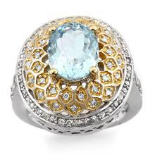 14K 2Tone Gold Jewelry 4.05 ctw Aquamarine & Diamond Ring - SKU#U74A7- 1684