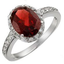 10K White Gold Jewelry 2.10 ctw Garnet & Diamond Ring - SKU#U11J1- 1872