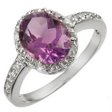 10K White Gold Jewelry 2.15 ctw Amethyst & Diamond Ring - SKU#U12B1- 1128