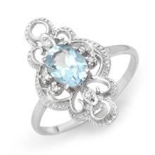 10K White Gold Jewelry 0.83 ctw Blue Topaz & Diamond Ring - SKU#U9S8- 90121