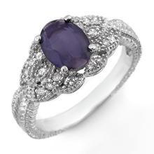 14K White Gold Jewelry 1.35 ctw Iolite & Diamond Ring - SKU#U28Q3- 1857