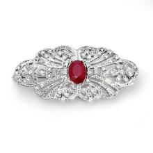 14K White Gold Jewelry 3.75 ctw Ruby & Diamond Brooch - SKU#U86L5- 99545