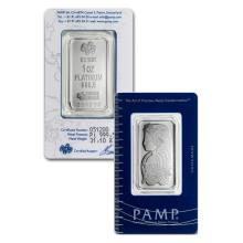 1 oz Pamp Suisse Platinum Bar .9995 Fine Platinum in Assay - REF#RJ6599