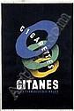 [ Poster ] Max Ponty (1904-1972) Gitanes Cigarettes 79,5x119, ca. 1930, pr. Imp. Bedos & Cie. Paris A-