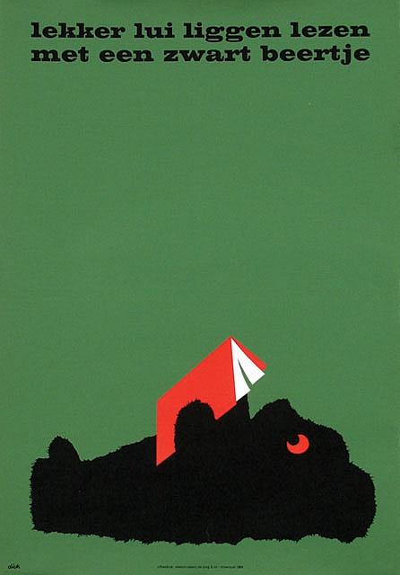 Poster by Dick Bruna - lekker lui liggen lezen met een zwart beertje