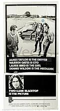 TWO-LANE BLACKTOP (1971) Film Poster. US Three