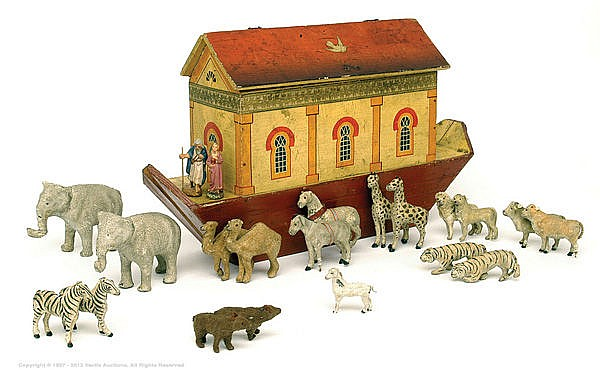 Noah's Ark, Painted Wood & Animals, German