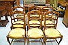 Set of six French Louis XV oak rush seat chairs