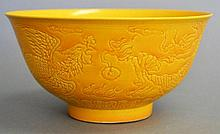 Antique Chinese  K'ang Hsi (1662-1722) yellow ground bowl, incised decoration of Dragon & Phoenix, approx 14.5cm dia, six reign characters in blue for Kangxi, But more than likely Yung Cheng (1723-1735) mark and period. Ex Collection of  Rex Morgan