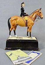 Very Rare Royal Worcester porcelain figure group of Princess Elizabeth on her horse, Modelled by Miss Doris Linder, titled under base, H.R.H Princess Elizabeth Colonel Grenadier Guards, on the Occasion of the Trooping the colour in Honour of the
