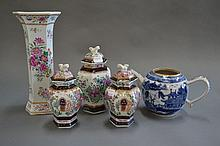 Three Antique porcelain lidded pots, decorated