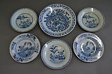 Selection of antique 18th century blue and white