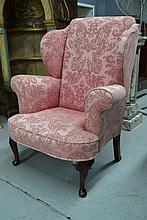 George I style wing back armchair, pink damask