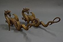 Pair of antique Asian cast bronze dragons, Ex