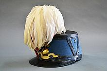 French military hat, blue felt and black leather
