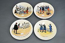 Four antique French military plates (4)