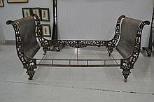 Antique French Empire iron & polished steel bed,