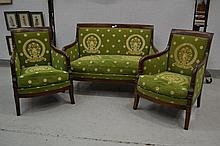 Antique French Empire style three piece lounge