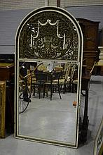 Antique French parlour mirror, oak framed with