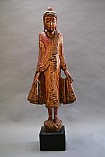 A Fine Antique Wood Standing Burmese Buddha 18th