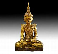 A Fine Antique Burmese sitting wooden Buddha 18th