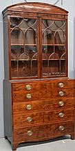 Georgian mahogany secretaire bookcase, the base