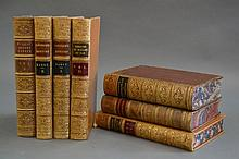 Seven brown leather volumes with gilt tooling to
