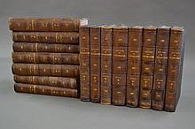Fifteen brown leather spine
