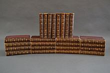 Twenty four brown leather spine