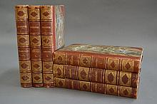 Six red leather spine, marble cover volumes on