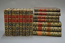 Twelve leather spine, marbled Marryat books along