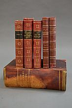 Six various leather bound books (6)