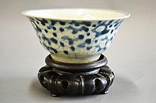 Antique Ming blue and white bowl on wooden stand,