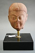 Indian carved red stone head. Ex European Diplomat