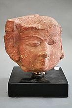 Indian carved red stone head fragment, Ex European