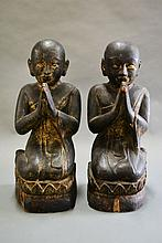 Two Burmese sitting wooden monks 18th century,