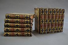 Twelve blue leather spine and marbled