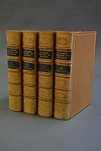Four antique beige leather spine,