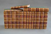 Sixteen brown leather spine with cloth cover and