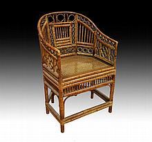 Early 20th century tortoise shell Bamboo armchair