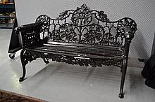 Antique cast iron hound head garden bench, approx