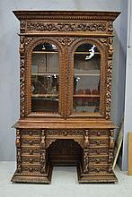 Antique French Renaissance style desk bookcase.