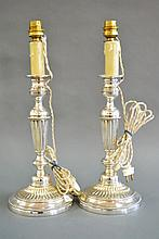 Fine pair of French silver plated candlestick