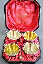 Set of antique four silver plated salts of bucket
