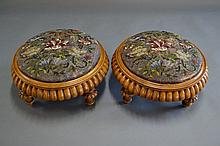 Pair of Victorian period fruit wood foot stools