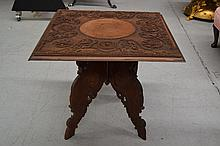 Carved teak oriental folding base table, square