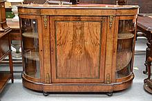 19th century English walnut credenza, central