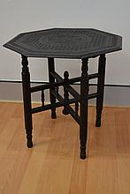 Ebony oriental folding table, octagonal finely