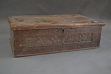 Antique 18th century English oak bible box (336).