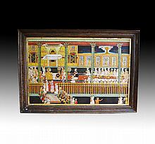 Large rare Tanjore Painting 19th century, Crowning